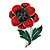 Red/ Black/ Green Enamel, Crystal Poppy Brooch In Silver Tone - 45mm L