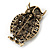 Large Vintage Inspired Crystal Owl Brooch/ Pendant In Bronze Tone (Olive, Citrine) - 63mm L - view 2