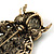 Large Vintage Inspired Crystal Owl Brooch/ Pendant In Bronze Tone (Olive, Citrine) - 63mm L - view 3