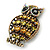 Large Vintage Inspired Crystal Owl Brooch/ Pendant In Bronze Tone (Olive, Citrine) - 63mm L - view 6