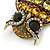 Large Vintage Inspired Crystal Owl Brooch/ Pendant In Bronze Tone (Olive, Citrine) - 63mm L - view 5