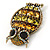 Large Vintage Inspired Crystal Owl Brooch/ Pendant In Bronze Tone (Olive, Citrine) - 63mm L - view 7