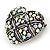 Marcasite AB Crystal Heart Brooch - 40mm L - view 2