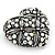 Marcasite AB Crystal Heart Brooch - 40mm L - view 3