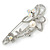 Large Crystal, Pearl Floral Safety Pin Brooch In Rhodium Plating - 10cm L