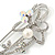 Large Crystal, Pearl Floral Safety Pin Brooch In Rhodium Plating - 10cm L - view 3