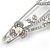 Large Crystal, Pearl Floral Safety Pin Brooch In Rhodium Plating - 10cm L - view 4