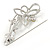 Large Crystal, Pearl Floral Safety Pin Brooch In Rhodium Plating - 10cm L - view 2
