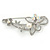 Large Crystal, Pearl Floral Safety Pin Brooch In Rhodium Plating - 10cm L - view 5