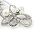 Large Crystal, Pearl Floral Safety Pin Brooch In Rhodium Plating - 10cm L - view 6