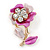 Pink/ Fuchsia Enamel, Crystal Flower Brooch In Gold Tone - 30mm