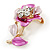 Pink/ Fuchsia Enamel, Crystal Flower Brooch In Gold Tone - 30mm - view 2