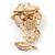Pink/ Fuchsia Enamel, Crystal Flower Brooch In Gold Tone - 30mm - view 3