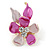 Small Pink/ Fuchsia Enamel, Crystal Flower Brooch In Gold Tone - 30mm