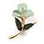 Small Dark Green/ Mint Green Enamel, Crystal Calla Lily Brooch In Gold Plating - 32mm L