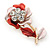 Pink/ Coral Enamel, Crystal Flower Brooch In Gold Tone - 30mm - view 3