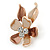 Small Bronze/ Magnolia Enamel, Crystal Flower Brooch In Gold Tone - 30mm - view 3