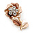 Bronze/ Magnolia Enamel, Crystal Flower Brooch In Gold Tone - 30mm - view 3