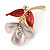 Small Pink/ Coral Enamel, Crystal Calla Lily Brooch In Gold Plating - 32mm L - view 3