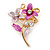 Small Fuchsia/ Pink Double Flower Enamel, Crystal Pin Brooch In Gold Tone - 30mm L