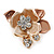 Small Bronze/ Magnolia Crystal Flower Brooch In Gold Tone - 25mm - view 4