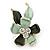 Small Mint/ Dark Green Enamel, Crystal Flower Brooch In Gold Tone - 30mm
