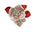 Small Coral/ Pink Crystal Flower Brooch In Gold Tone - 25mm
