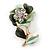 Mint/ Dark Green Enamel, Crystal Flower Brooch In Gold Tone - 30mm