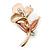 Small Magnolia/ Bronze Enamel, Crystal Calla Lily Brooch In Gold Plating - 32mm L