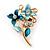 Blue Double Flower Enamel, Crystal Pin Brooch In Gold Tone - 30mm L