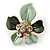 Dark Green/ Mint Green Enamel, Crystal Daisy Pin Brooch In Gold Tone - 30mm
