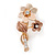 Magnolia/ Bronze Two Daisy Crystal Floral Brooch - 30mm L - view 2