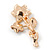Magnolia/ Bronze Two Daisy Crystal Floral Brooch - 30mm L - view 4