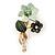 Dark Green/ Mint Two Daisy Crystal Floral Brooch - 30mm L