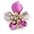 Pink Enamel, Crystal Daisy Pin Brooch In Gold Tone - 30mm