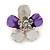 Purple/ Lavender Enamel Clear Crystal Flower Brooch In Gold Tone - 20mm
