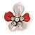 Coral/ Pale Pink Enamel, Crystal Daisy Pin Brooch In Gold Tone - 30mm