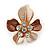 Magnolia/ Bronze Enamel, Crystal Daisy Pin Brooch In Gold Tone - 30mm