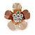Bronze/ Magnolia Enamel Clear Crystal Flower Brooch In Gold Tone - 20mm