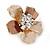 Bronze/ Magnolia Enamel Clear Crystal Flower Brooch In Gold Tone - 20mm - view 2