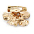 Bronze/ Magnolia Enamel Clear Crystal Flower Brooch In Gold Tone - 20mm - view 3