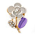 Purple Enamel, Crystal Floral Pin Brooch In Gold Tone - 25mm L