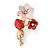 Pink/ Coral Two Daisy Crystal Floral Brooch - 30mm L