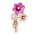 Pink/ Magenta Two Daisy Crystal Floral Brooch - 30mm L