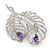 Clear Crystal, Amethyst Cz Double Feather Brooch In Rhodium Plating - 60mm L - view 2