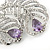 Clear Crystal, Amethyst Cz Double Feather Brooch In Rhodium Plating - 60mm L - view 3