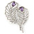 Clear Crystal, Amethyst Cz Double Feather Brooch In Rhodium Plating - 60mm L - view 5