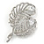 Clear Crystal Cz Double Feather Brooch In Rhodium Plating - 60mm L