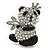Crystal, Black Enamel Quinn Panda Bear Brooch In Rhodium Plated Metal - 35mm