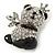 Crystal, Black Enamel Quinn Panda Bear Brooch In Rhodium Plated Metal - 35mm - view 2